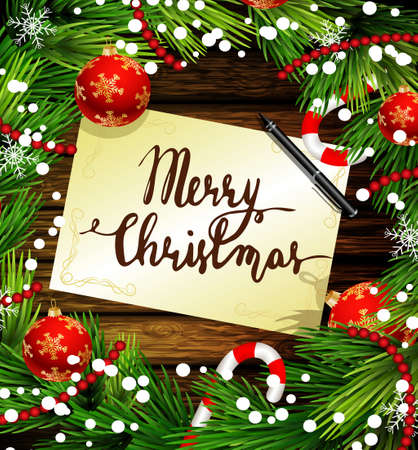barn wood: Christmas New Year design wooden background with christmas decorations candy canes snow and balls arranged in a frame with handwritten Merry Christmas and a pen in red. Illustration