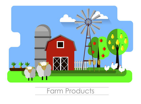 Farming background with barn, windmill, and sheep. Organic products, concept Vector illustration Çizim