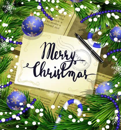 oude krant: Kerstmis Nieuwjaar ontwerp oude krant achtergrond met kerstversiering zuurstokken sneeuw en ballen gerangschikt in een frame met handgeschreven Prettige Kerstdagen en een pen in blauw.