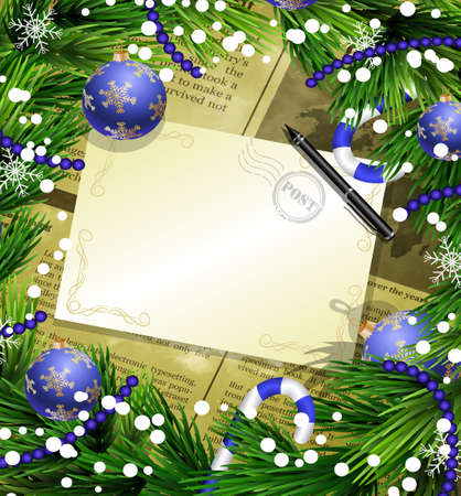 Christmas New Year design old newspaper background with christmas decorations candy canes snow and balls arranged in a frame with empty wich list or blank card and a pen in blue.
