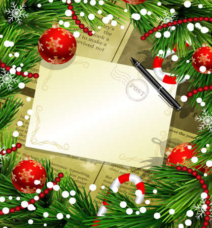 Christmas New Year design old newspaper background with christmas decorations candy canes snow and balls arranged in a frame with empty wich list or blank card and a pen in red.