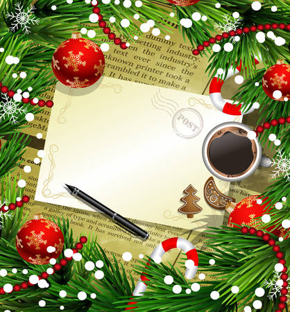 Christmas New Year design old newspaper background with christmas decorations candy canes snow and balls arranged in a frame with empty wich list or blank card a cup of coffee gingerbread cookies and a pen in red.