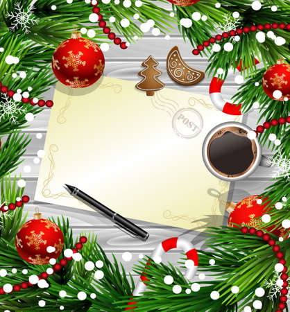 Christmas New Year design wooden background with christmas decorations candy canes snow and balls arranged in a frame with empty wich list or blank card a cup of coffee gingerbread cookies and a pen in red. Illustration