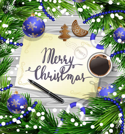 Christmas New Year design wooden background with christmas decorations candy canes snow and balls arranged in a frame with handwritten Merry CHristmas a cup of coffee gingerbread cookies and a pen in blue. 向量圖像