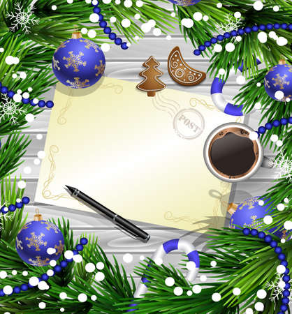 Christmas New Year design wooden background with christmas decorations candy canes snow and balls arranged in a frame with empty wich list or blank card a cup of coffee gingerbread cookies and a pen in blue.
