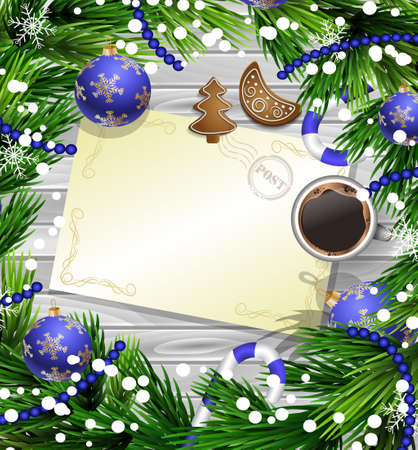 Christmas New Year design wooden background with christmas decorations candy canes snow and balls arranged in a frame with empty wich list or blank card a cup of coffee gingerbread cookies in blue.