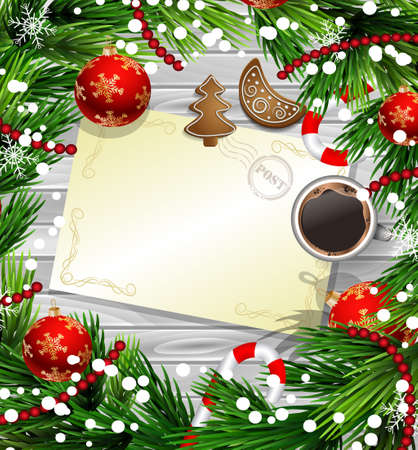 Christmas New Year design wooden background with christmas decorations candy canes snow and balls arranged in a frame with empty wich list or blank card a cup of coffee gingerbread cookies in red.