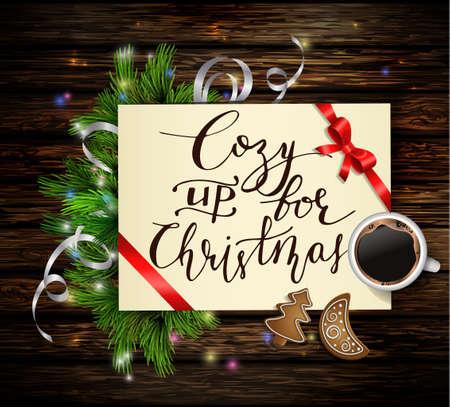 Kerst achtergrond met papier lint en lichten op een houten wand met vrije ruimte en een kopje koffie en pepernoten en met handgeschreven Gezellig voor Kerstmis.