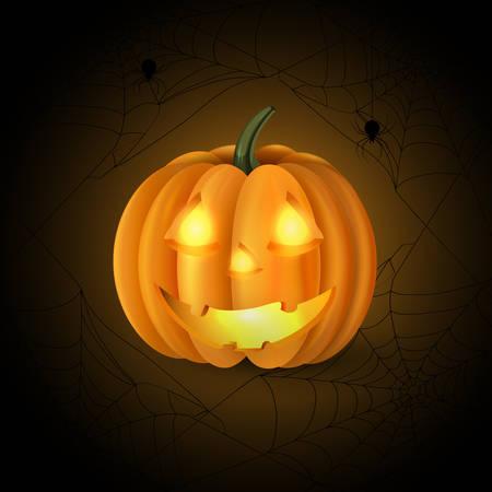 jack o' lantern: Scary Jack O Lantern halloween pumpkin with candle light inside on spider web background vector Illustration