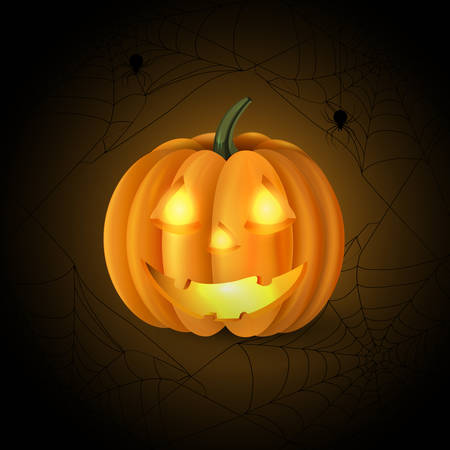 Scary Jack O Lantern halloween pumpkin with candle light inside on spider web background vector Illustration