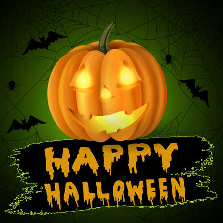 smilling: Scary Jack O Lantern halloween pumpkin with candle light inside on spider web background and with handwritten happy halloween vector Illustration