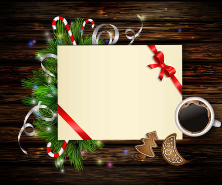 Christmas background with paper ribbon and lights on a wooden wall with free space and cup of coffee and gingerbread cookies Illustration