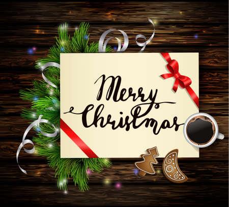 Kerstmisachtergrond met document lint en lichten op een houten muur met vrije ruimte en een kop koffie en peperkoekkoekjes en met met de hand geschreven Vrolijke Kerstmis. Stock Illustratie