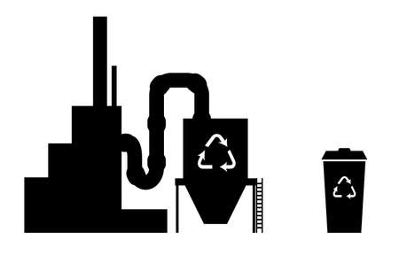 recycling plant: Industry icon recycling plant silhouette in black on white with recycle bin