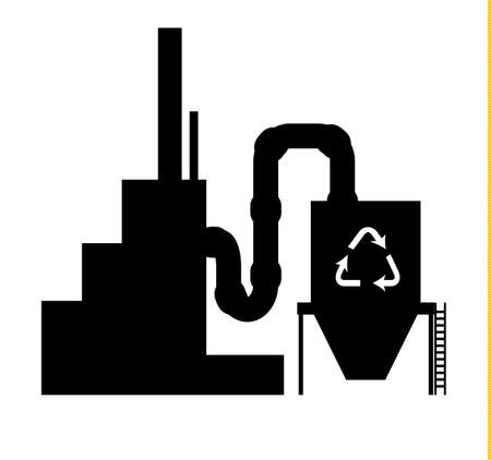 recycling plant: Industry icon recycling plant silhouette in black on white background