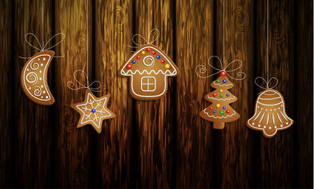 Gingerbread man tree bell half moon and stars with decorations Cristmas background on wood Illustration