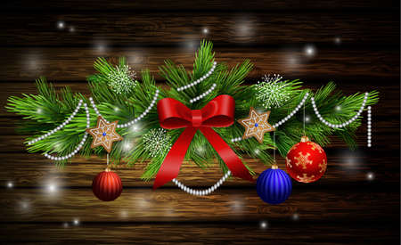 evergreen: Christmas decoration with evergreen trees with balls gingerbread on wooden background