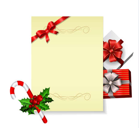 Christmas party invitation withor wish list with holy candy cane and gift boxes