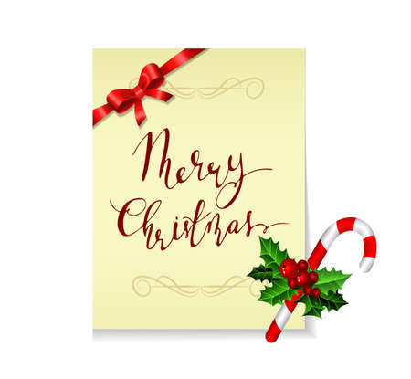 Christmas card with holy candy cane and handwritten Merry Christmas