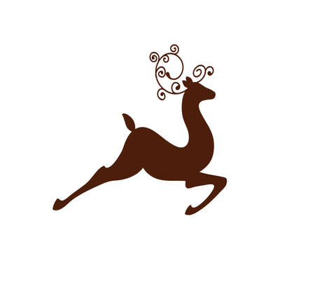 galloping rain deer vector illustration silhouette with swirl horns 向量圖像