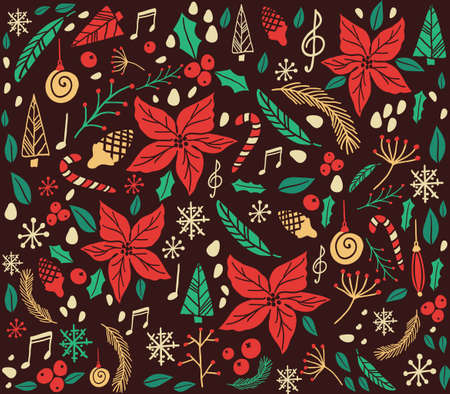 snowflacke: Christmas pattern with fir tree, poinsettia, cones, berries, notes cone christmas tree Illustration