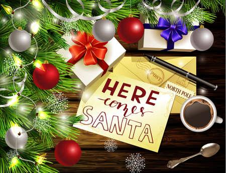 Kerst Nieuwjaar ontwerp lichte houten achtergrond met kerstboom en zilveren en rode ballen en wens lijst koffie theelepel geschenkdozen envelop voor santa en pen en met de hand geschreven Hier komt santa. Stock Illustratie