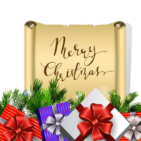 Holiday Christmas background with gift boxes and christmas tree brunches isolated on white background and handwritten Merry Christmas on scroll . Vector. Illustration