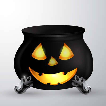 Cartoon Halloween witchs cauldron with Jack O Lantern eyes mouth and nouse isolated on white could be used for Halloween design