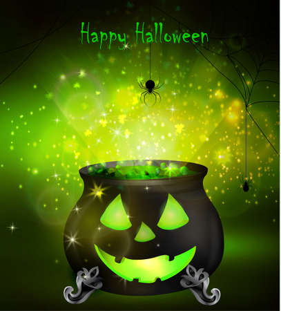 green lantern: Halloween witches cauldron with Jack O Lantern face and green potion and spiders on dark background, illustration.