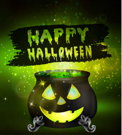 green lantern: Halloween witches cauldron with Jack O Lantern face green potion and spiders on dark background, illustration.