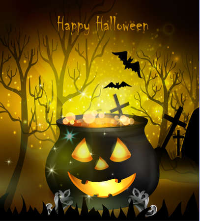 Halloween witches cauldron with Jack O Lantern face bubbling potion and spiders on yellow background, illustration.