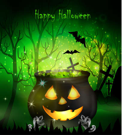 Halloween witches cauldron with Jack O Lantern face green potion and spiders on dark background, illustration.