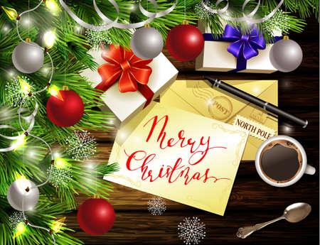 Het ontwerp lichte houten achtergrond van het Kerstmisnieuwjaar met Kerstmisboom en zilveren en rode ballen en van het de theelepeldgift van de wenslijst van de koffietas de dozenveloppen voor santa en pen en met de hand geschreven Vrolijke Kerstmis. Stock Illustratie