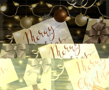 Christmas New Year designt dark wooden background with silver and red balls and greeting card with handwritten Merry Christmas with gift boxes with Christmas lights in party mood in old style photo.