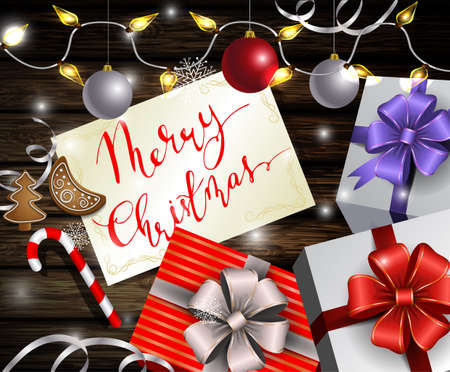 Christmas New Year designt dark wooden background with silver and red balls and greeting card with handwritten Merry Christmas with gift boxes with Christmas lights in party mood in old style photo. Stock Vector - 66786360