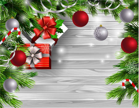 Christmas New Year design light wooden background with christmas tree and silver and red balls and candy canes with gift boxes 向量圖像