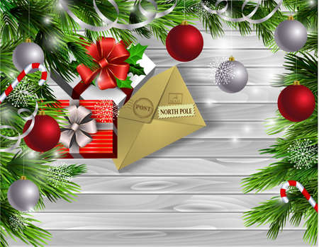 Christmas New Year design light wooden background with christmas tree and silver and red balls and letter for santa candy canes with gift boxes 向量圖像