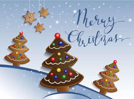 Ginger chocolate trees on snow background with decorations and stars with handwritten merry Christmas with bouncing letters