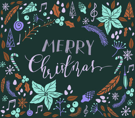 snowflacke: Christmas card with fir tree, poinsettia, cones, berries, notes cone christmas tree and handwritten Merry Christmas