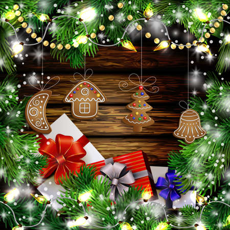 Christmas New Year design wooden background with christmas garland gingerbread cookies lights gift boxes and snow. Vector illustration, Cristmas tree
