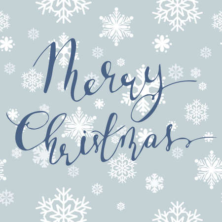 Vector background with snowflakes and handwritten Merry Christmas with bouncing letters