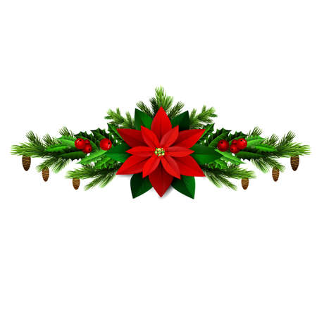 metalic: Christmas decoration with evergreen treess holly and pinecone and poinsettia and ribbon isolated Illustration