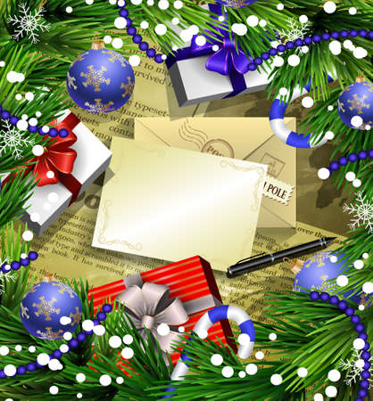 Christmas New Year design news paper background with christmas decorations candy canes snow and balls arranged in a frame with gift boxes and envelope paper and pen.