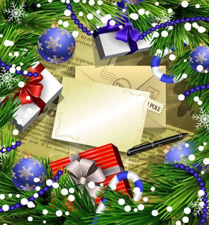 O fundo do papel da notícia do projeto do ano novo do Natal com neve dos bastões de doces das decorações do Natal e as bolas arranjaram em um quadro com caixas de presente e papel e pena de envelope. Foto de archivo - 66788892