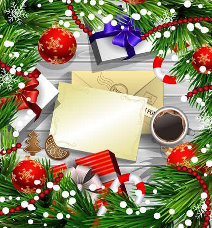 Kerst nieuwjaar ontwerp houten achtergrond met kerstversiering snoep stokken sneeuw en ballen gerangschikt in een frame met geschenkdozen en envelop papier kopje koffie en peperkoek cookies in het rood. Stock Illustratie