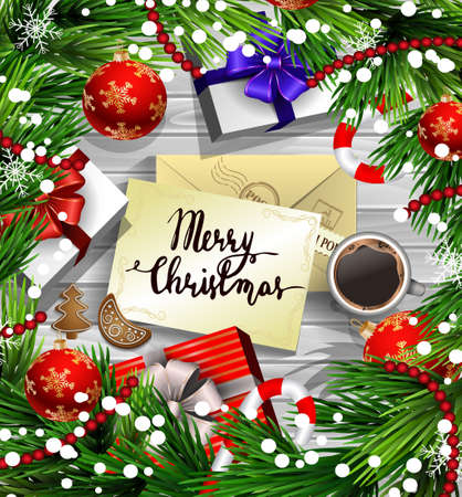 old envelope: Christmas New Year design wooden background with christmas decorations candy canes snow and balls arranged in a frame with gift boxes and envelope handwritten Merry Christmas cup of coffee and gingerbread cookies. in red