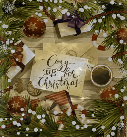 Christmas New Year design wooden background with christmas decorations candy canes snow and balls arranged in a frame with gift boxes and envelope handwritten Cozy up for Christmas cup of coffee and gingerbread cookies in old photo style. Иллюстрация