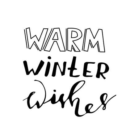 Warm Winter wishes hand lettering with bouncing letters signature black vector illustration. Illustration