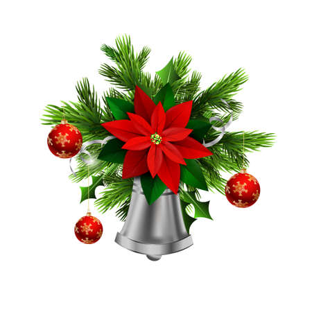 evergreen: Christmas decoration with evergreen trees and silver bell with poinsettia