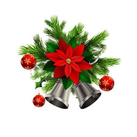 silver bells: Christmas decoration with evergreen trees and silver bells with poinsettia and balls